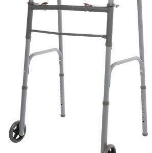 "Two Button Folding Walker with 5"" Wheels 4 Case"
