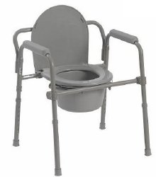 McKesson Commode Chair, Folding, Fixed Arm, Steel Frame, 15.5″ to 21.75″